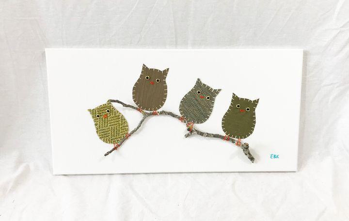 Owls on Branch #15 - Erin Brie Art