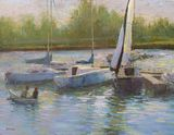 oil painting of sailboats