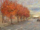 original oil painting, cityscape