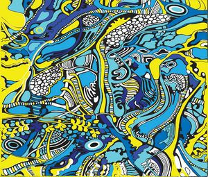 Blue and yellow tree pattern