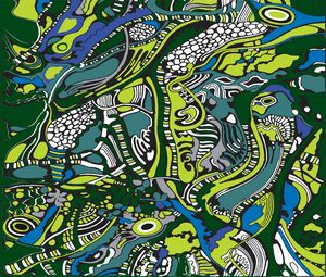 green and blue tree pattern