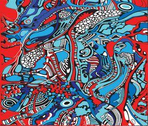 red blue white tree pattern