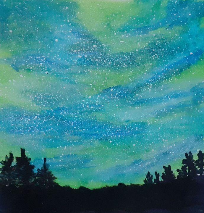 Greenish Blue Sky - Art by Swetha