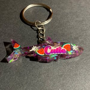 Purple Cutie Shark Keychain - AngelsWalkAmongst