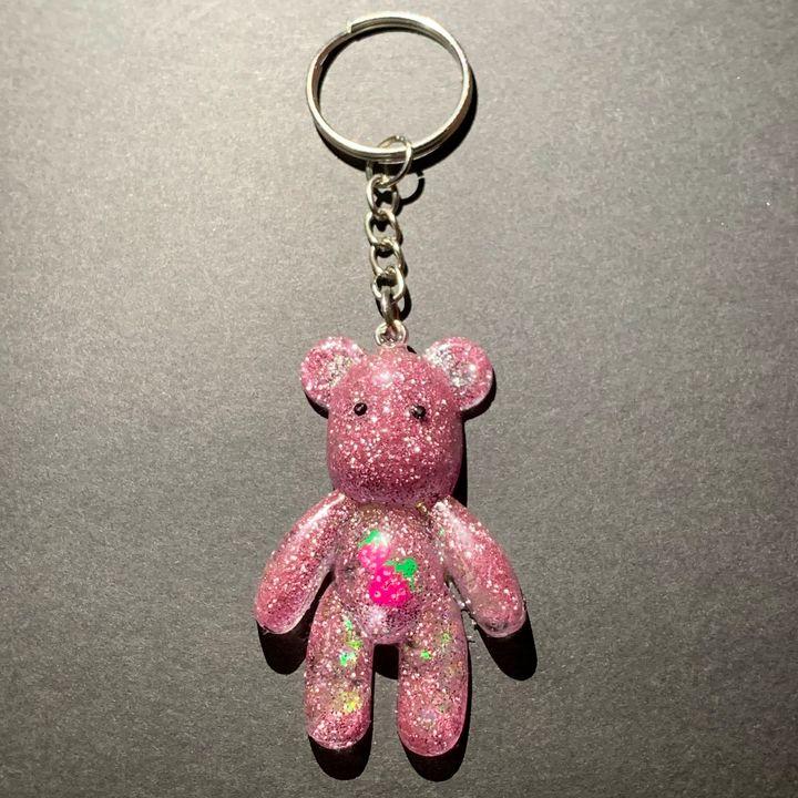 Pink Strawberry Bear Keychain - AngelsWalkAmongst