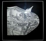 14.5x14 stippled in ink artwork.