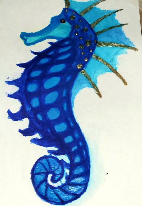 SuperSeahorse, - Watercolors