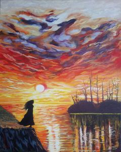 Woman in the sunset