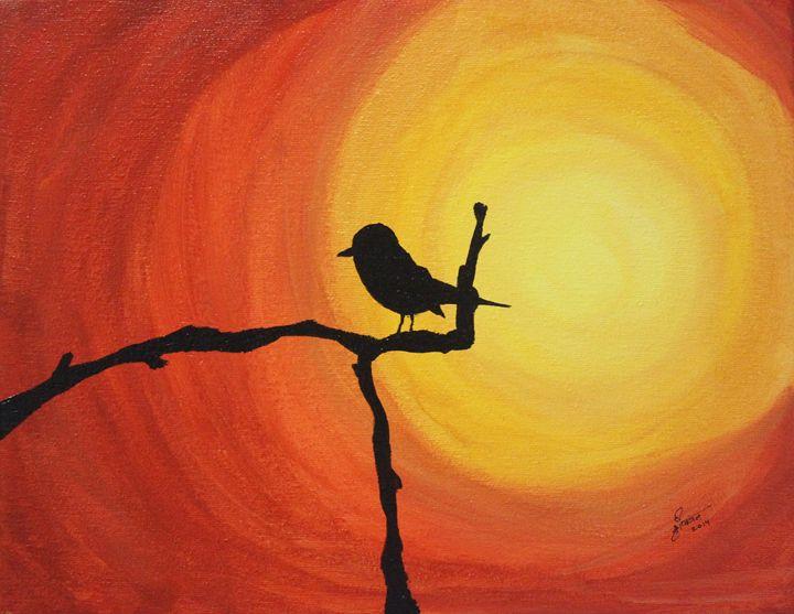 lonely bird - orangepurpleblue