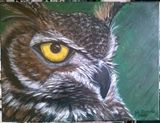 painting of a great horned owl