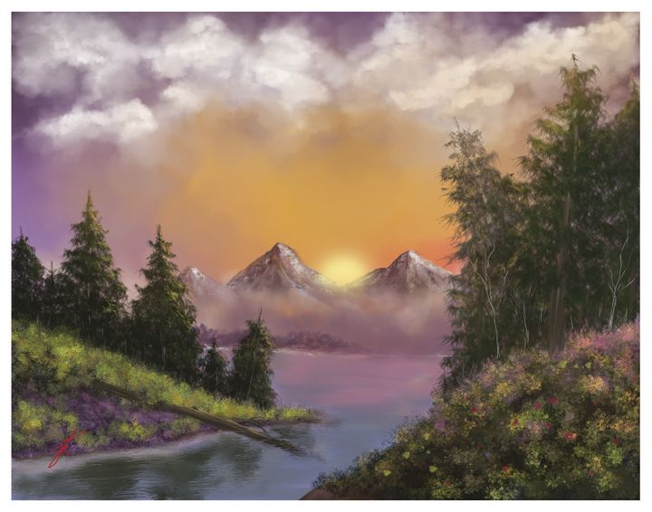 Sunset in the Mountains - JohnThompson ART