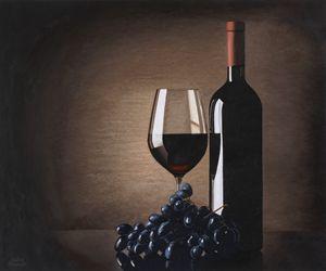 wine bottle , glass, purple grapes