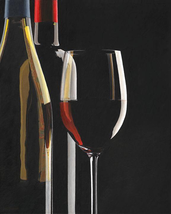 two wine bottles , wine glass - neilburgardt