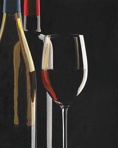 two wine bottles , wine glass