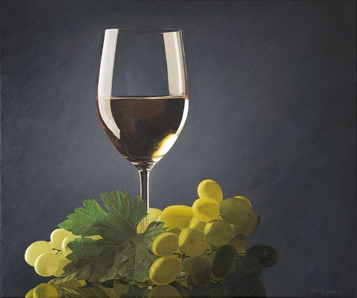 white wine glass, leaf, green grape - neilburgardt