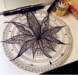 Marijuana Leaf Designed Zentangle