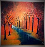 Canvas Acrylic Painting - Fall color
