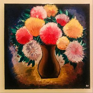 Canvas Acrylic Painting-flower vase