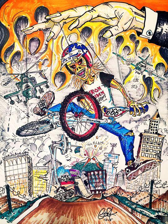 Eddie the 'Ead Destroys Seattle - gOrk's BMX Art