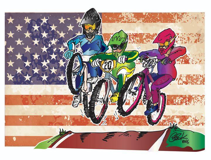 Patriotic BMX Racing - gOrk's BMX Art