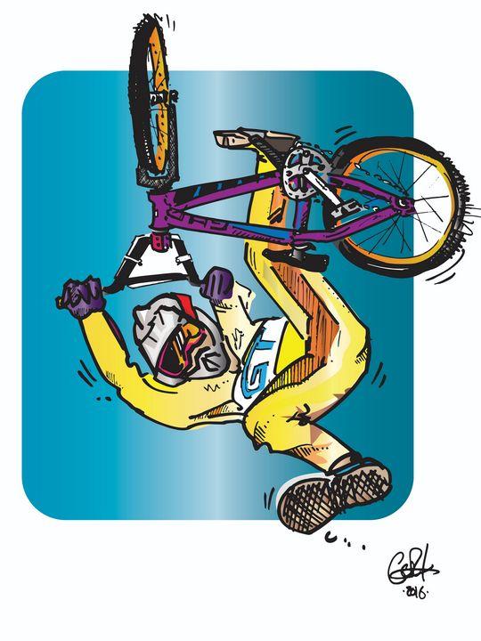 Eddie Fiola - in Yellow - gOrk's BMX Art