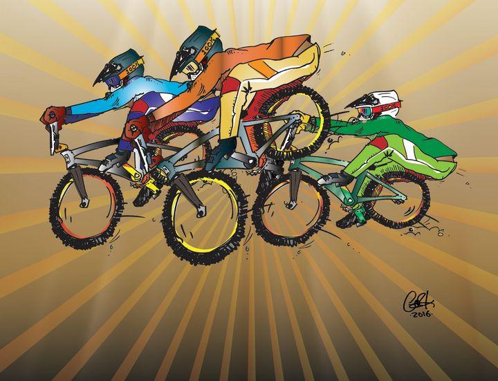 BMX racers, BIG air. - gOrk's BMX Art