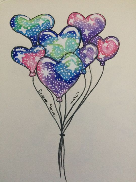 Galaxy Balloons - Art By Rhi Rhi