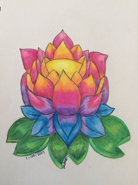 Rainbow Lotus lower - Art By Rhi Rhi