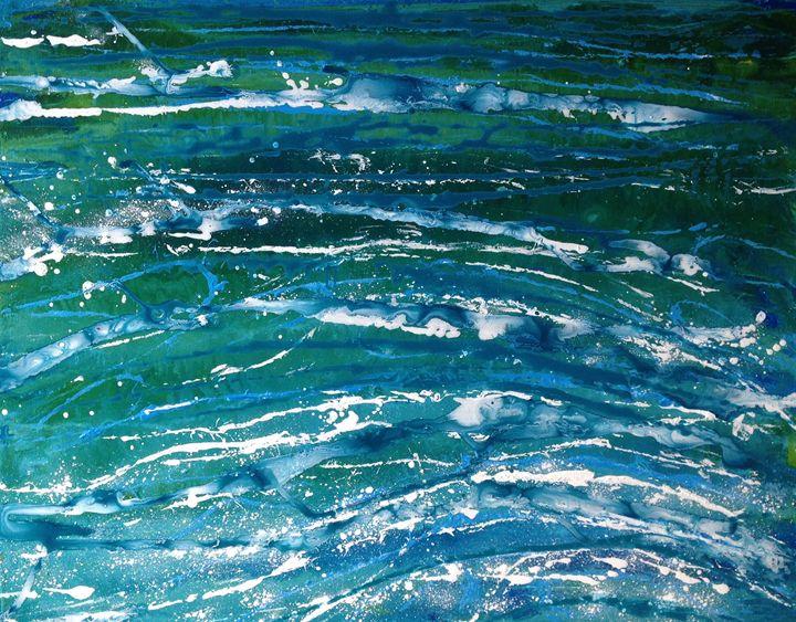 String Series: Into the Deep - Caroline Crow Salmon Turquoise Art
