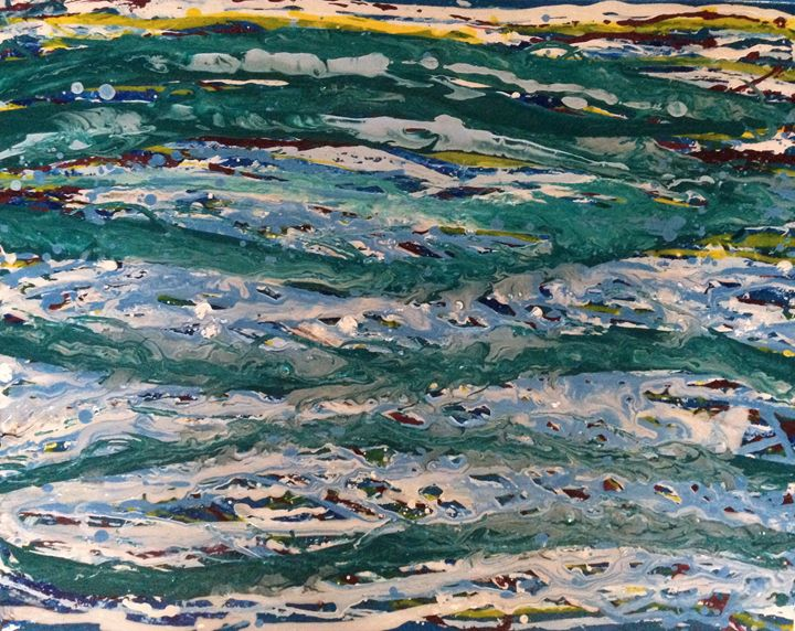 String Series: Funky Ocean - Caroline Crow Salmon Turquoise Art