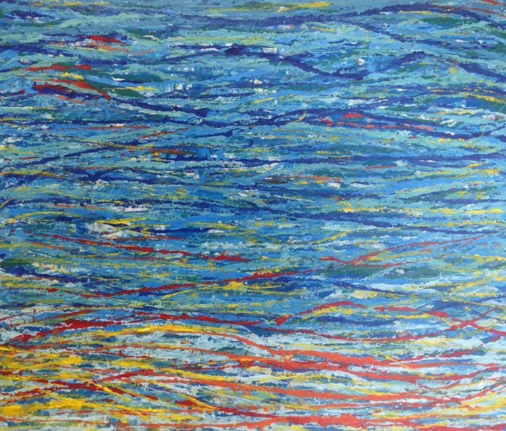 String Series: Ocean Sunset - Caroline Crow Salmon Turquoise Art