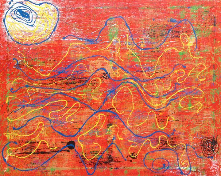 String Series: A Life - Caroline Crow Salmon Turquoise Art