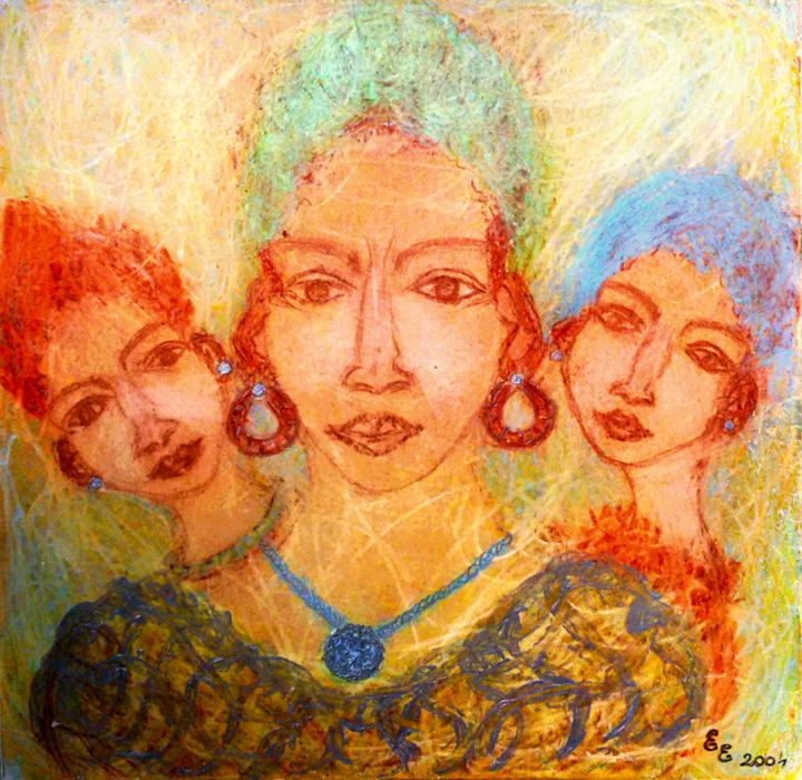 A mother with her daughters - engierzsi's oil-chalk drawings