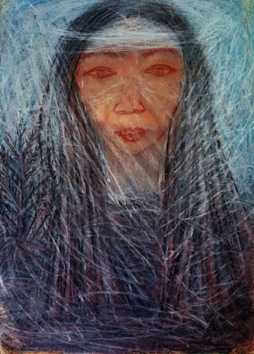 Indian life - engierzsi's oil-chalk drawings
