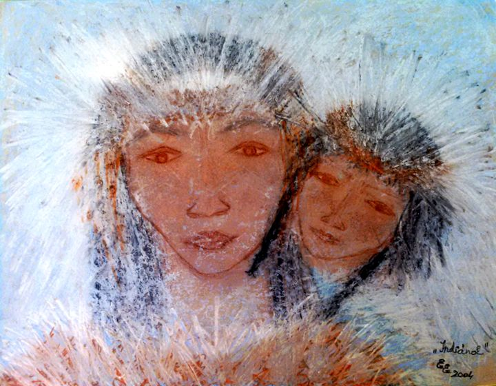 Indians - engierzsi's oil-chalk drawings