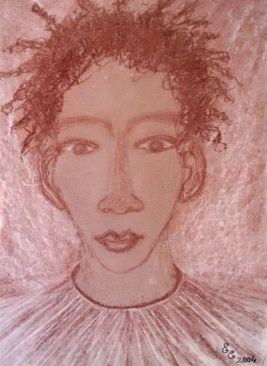 An african boy - engierzsi's oil-chalk drawings