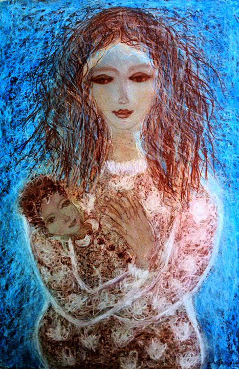 Motherhood - engierzsi's oil-chalk drawings