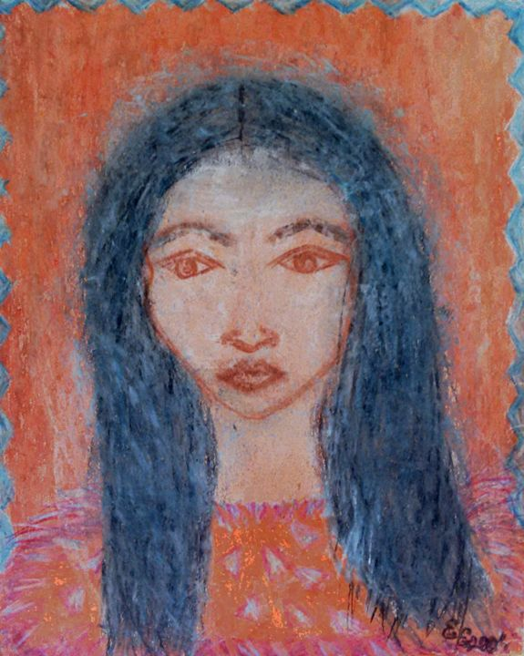 Indian girl - engierzsi's oil-chalk drawings
