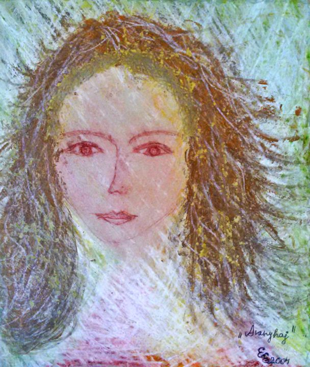 Golden hair - engierzsi's oil-chalk drawings