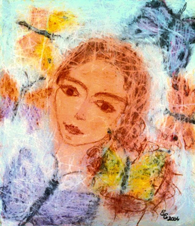 Young girl between butterflies - engierzsi's oil-chalk drawings