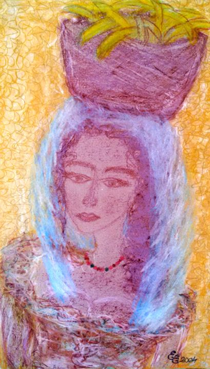 Young woman with bananas - engierzsi's oil-chalk drawings