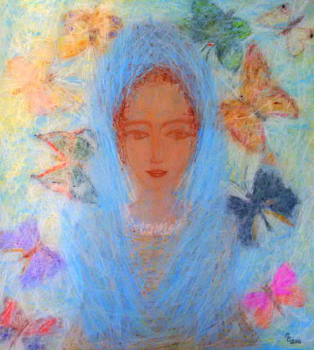 Madonna between butterflies - engierzsi's oil-chalk drawings