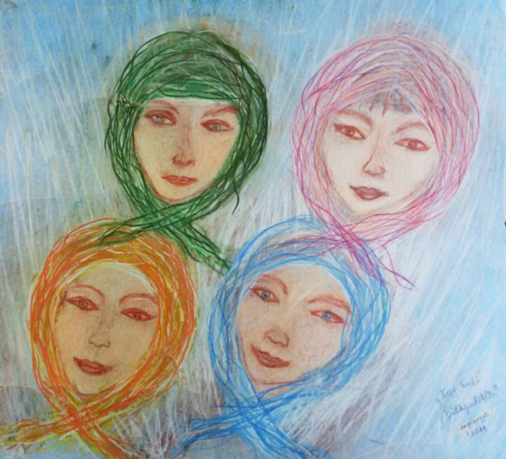 Four head scarves - engierzsi's oil-chalk drawings