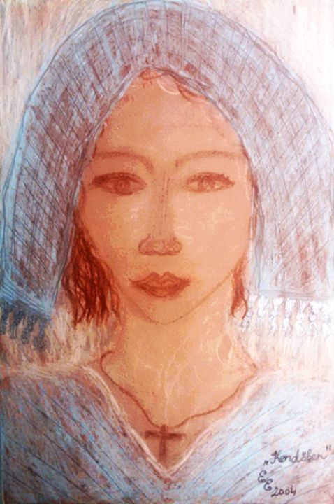 In head scarf - engierzsi's oil-chalk drawings