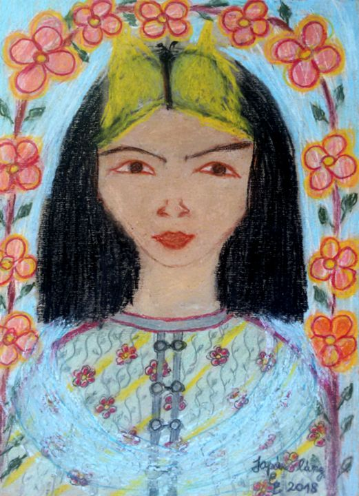 Japanese girl - engierzsi's oil-chalk drawings