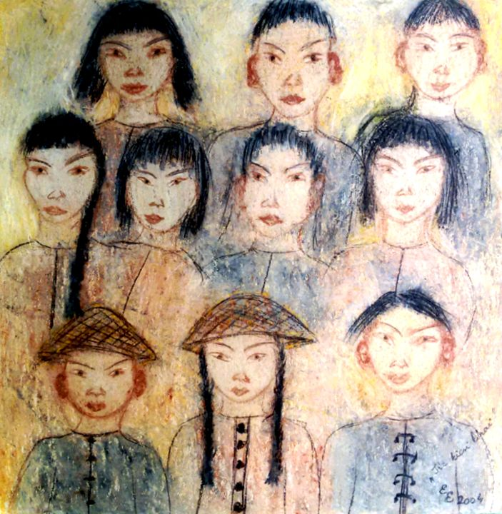 Ten small chinese - engierzsi's oil-chalk drawings
