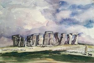 Stonehenge in watercolor