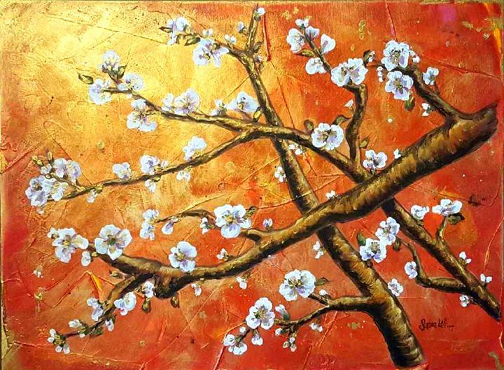 Red Oriental Blossoms - Sandra Lett