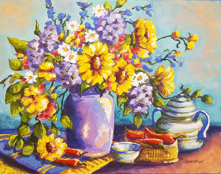 Sunflowers and Hydrangeas - Sandra Lett