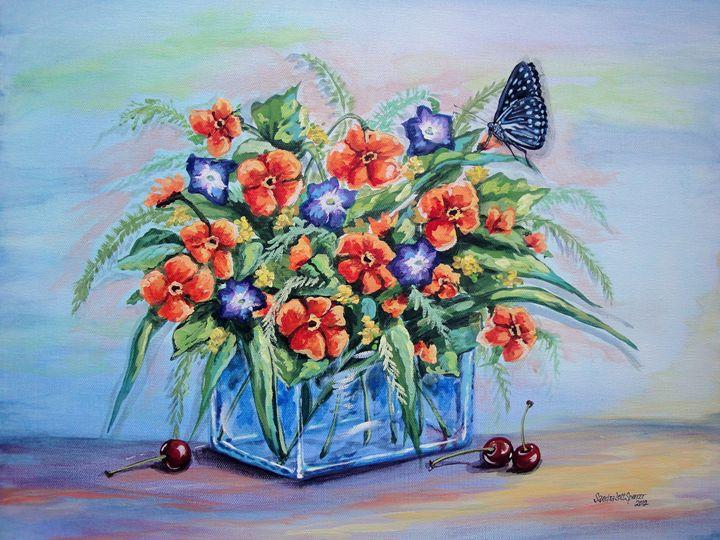 Pansies with Cherries - Sandra Lett